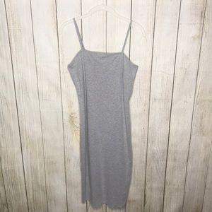 Topshop Square Neck Cami Bodycon Grey Midi Dress